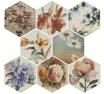 Керамогранит Toscana Flores Acuarelas mix 25.8*29 (1 уп. 18шт/0,999м2)